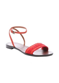 Lanvin bright orange and red leather woven strap sandals