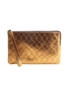 Lanvin bronze metallic leather zip around flat clutch