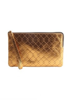 Lanvin bronze metallic leather zip around flat clutch