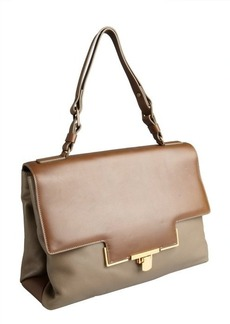 Lanvin brown and taupe goatskin briefcase-style shoulder bag