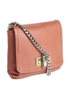 Lanvin brown leather braided chain strap shoulder bag