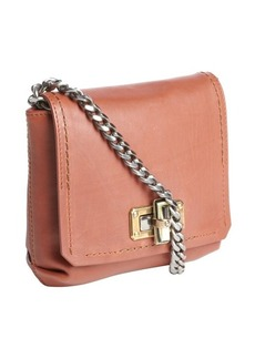 Lanvin brown leather braided chain strap shoulder bag