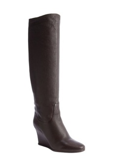 Lanvin brown leather knee high boots