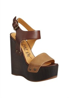 Lanvin brown two-tone leather wedge heels