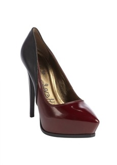 Lanvin burgundy and black leather pointed toe platform pumps