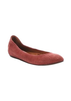 Lanvin burgundy croc-embossed leather ballet flats
