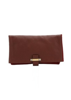 Lanvin burgundy leather and suede extra large clutch