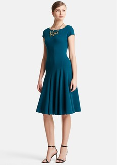 Lanvin Cap Sleeve Wool Jersey Fit & Flare Dress