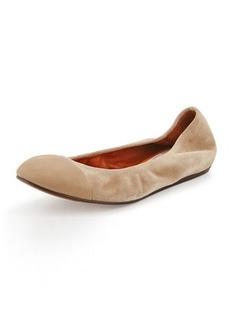 Lanvin Cap-Toe Suede Ballerina Flat, Beige