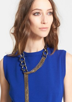 Lanvin Chain Link & Leather Necklace