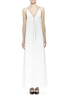Lanvin Chain-Trim Plunge-Neck Gown, Ecru