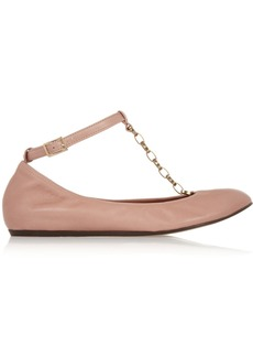 Lanvin Chain-trimmed leather T-bar ballet flats