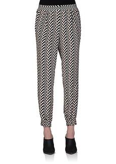 Lanvin Chevron-Stripe Silk Pants