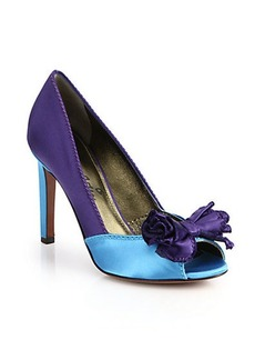 Lanvin Colorblock Satin Peep-Toe Pumps