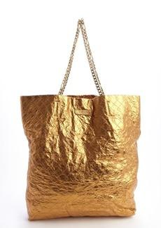 Lanvin copper crinkle leather chain strap tote