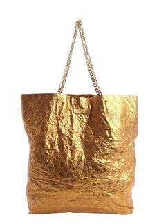 Lanvin copper crinkle leather chain strap tote