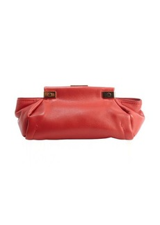 Lanvin crimson red calfskin leather 'Trilogy' clutch