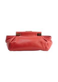 Lanvin crimson red calfskin leather 'Trilogy' clutch