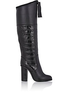 Lanvin Croc-Stamped-Detail Knee Boots