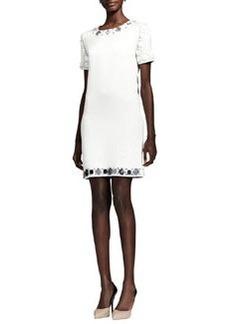 Lanvin Crystal-Embellished Cotton Shift Dress, White