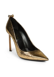 Lanvin Crystal-Studded Metallic Leather Pumps