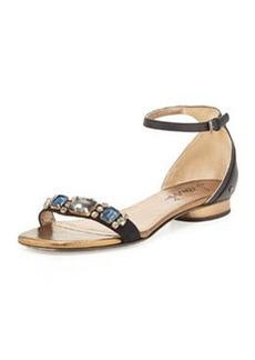 Lanvin Crystal-Toe-Strap Sandal, Black