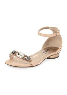 Lanvin Crystal-Toe-Strap Sandal, Nude