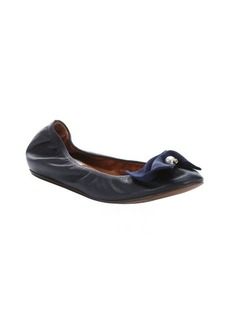 Lanvin dark blue leather bow detail ballerina flats