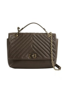 Lanvin dark brown quilted leather large 'Happy' shoulder bag