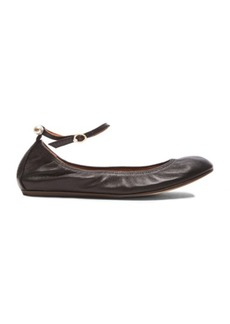 Lanvin Ankle Strap Ballerina Lambskin Flats with Pearls