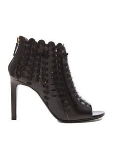 "Lanvin <div class=""product_name"">Braided Calfskin Peep Toe Booties</div>"