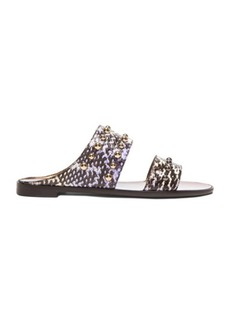 Lanvin Snakeskin Flat Sandals with Studs