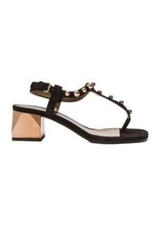 Lanvin Velvet Goatskin Chunky Sandals