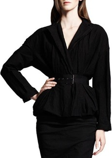 Lanvin Dolman-Sleeve Linen-Blend Jacket, Black