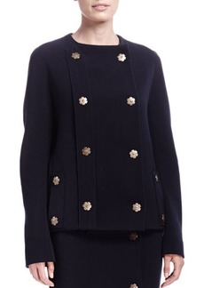 Lanvin Double-Breasted Industrial Snap Jacket, Blue Marine