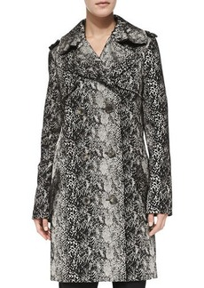 Lanvin Double-Breasted Snake-Print Trenchcoat
