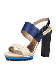 Lanvin Double-Strap Platform Sandal, Royal/Multi