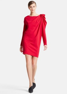 Lanvin Drape Shoulder Wool Dress