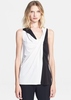 Lanvin Draped Colorblock Crepe Top