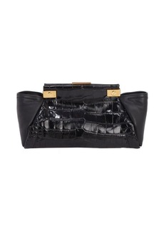 Lanvin ebony calfskin and croc embossed leather 'Trilogy' clutch