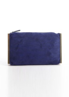 Lanvin electric blue quilted suede goldtone side bar 'Private' clutch