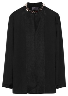 Lanvin Embellished-collar matte-satin blouse