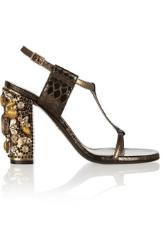 Lanvin Embellished metallic snake-effect leather sandals