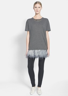Lanvin Embellished Neck & Feather Hem Knit Tunic