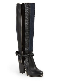 Lanvin Embossed Paneled Leather Knee-High Boots