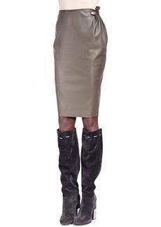 Lanvin Faux Leather Metal-Detail Skirt