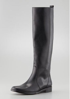 Lanvin Flat Leather Equestrian Boot, Black
