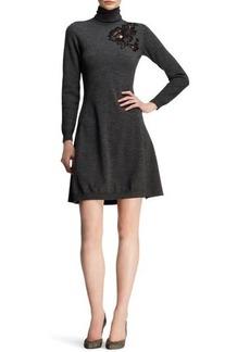 Lanvin Floral-Appliqué Knit Turtleneck Dress