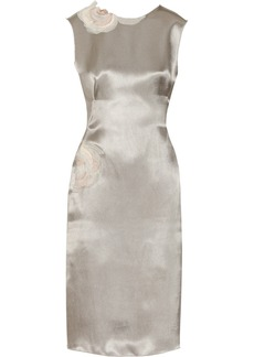 Lanvin Floral-appliquéd duchesse-satin dress