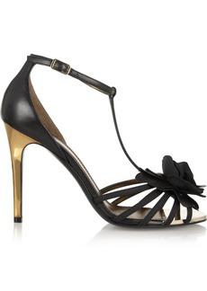Lanvin Floral-appliquéd leather sandals